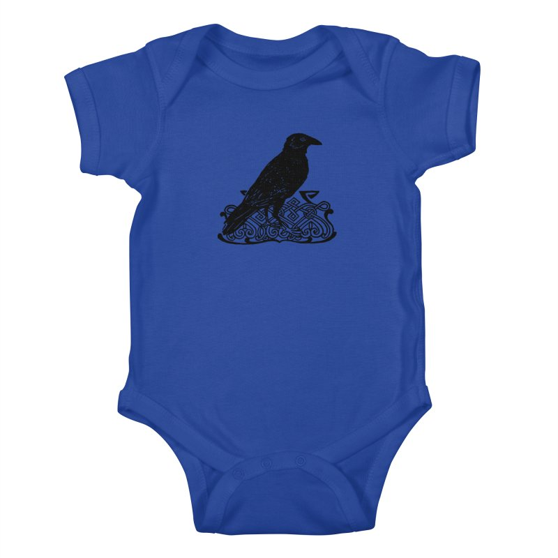 Crow with Celtic Knot Kids Baby Bodysuit by Green Grackle Studio