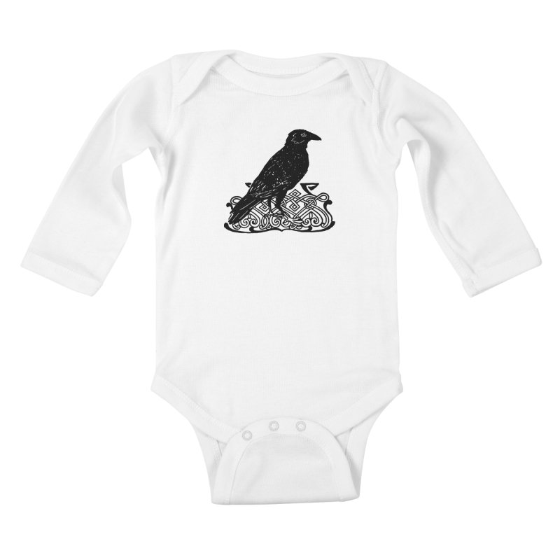 Crow with Celtic Knot Kids Baby Longsleeve Bodysuit by Green Grackle Studio