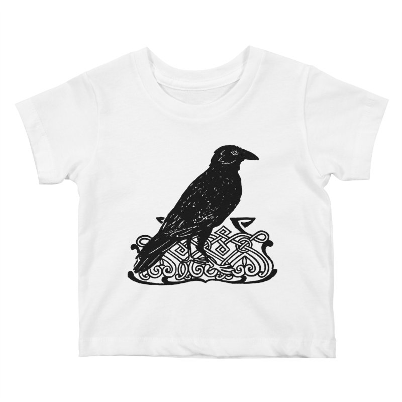 Crow with Celtic Knot Kids Baby T-Shirt by Green Grackle Studio