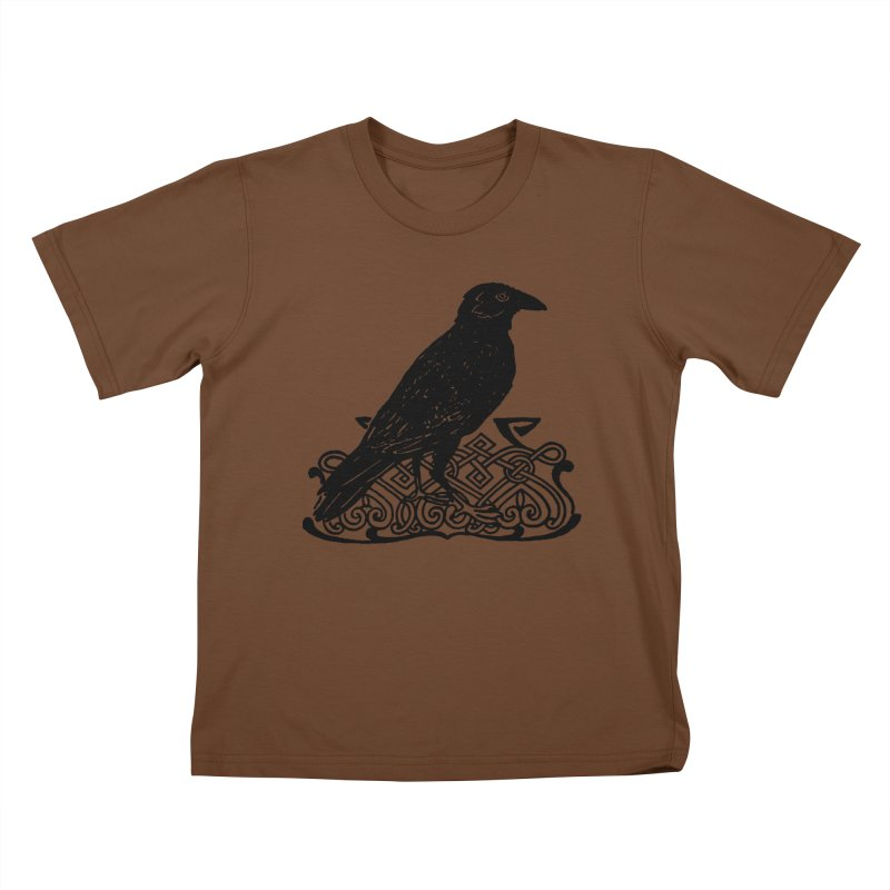 Crow with Celtic Knot Kids T-Shirt by Green Grackle Studio