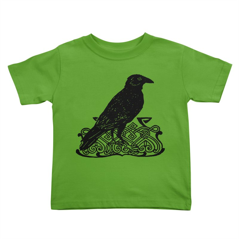 Crow with Celtic Knot Kids Toddler T-Shirt by Green Grackle Studio