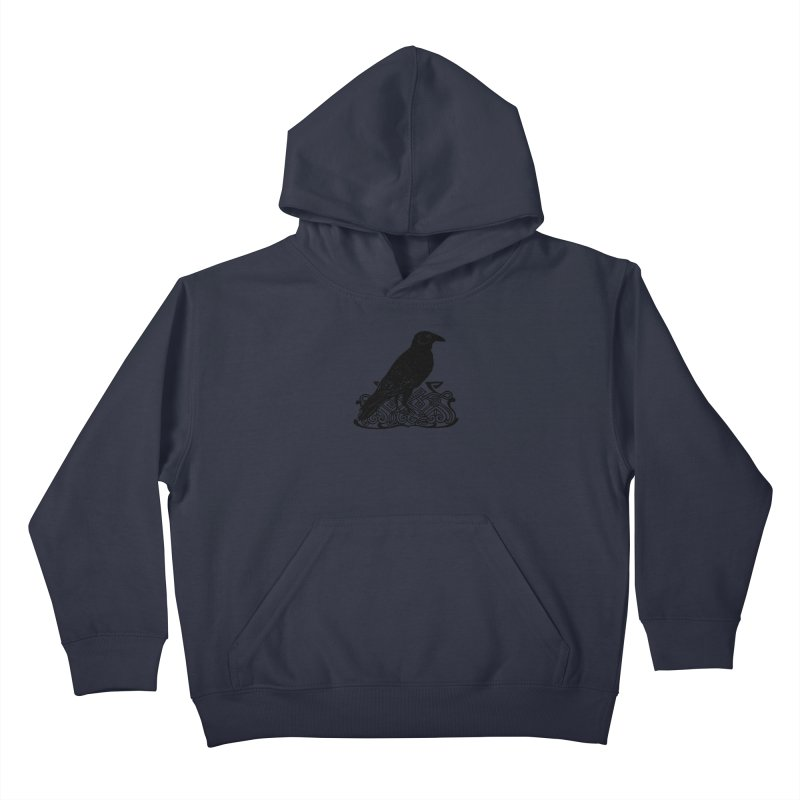 Crow with Celtic Knot Kids Pullover Hoody by Green Grackle Studio