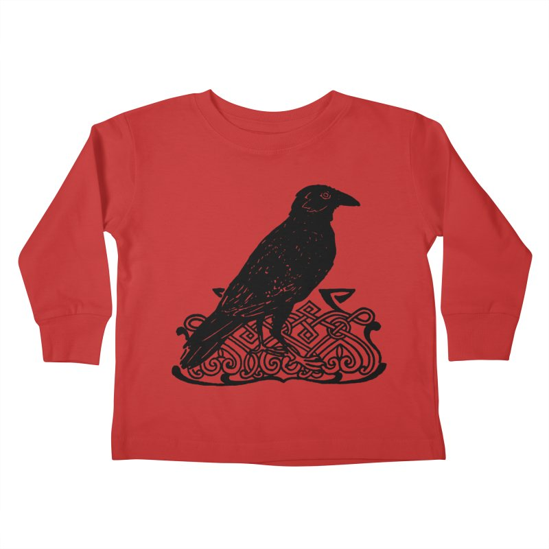 Crow with Celtic Knot Kids Toddler Longsleeve T-Shirt by Green Grackle Studio