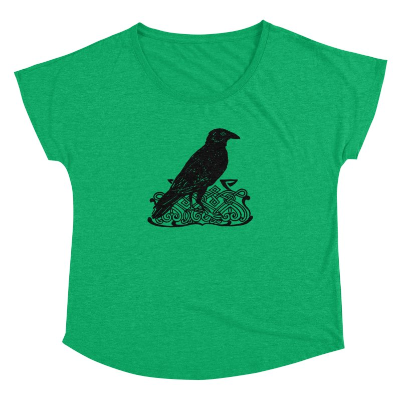 Crow with Celtic Knot Women's Dolman Scoop Neck by Green Grackle Studio