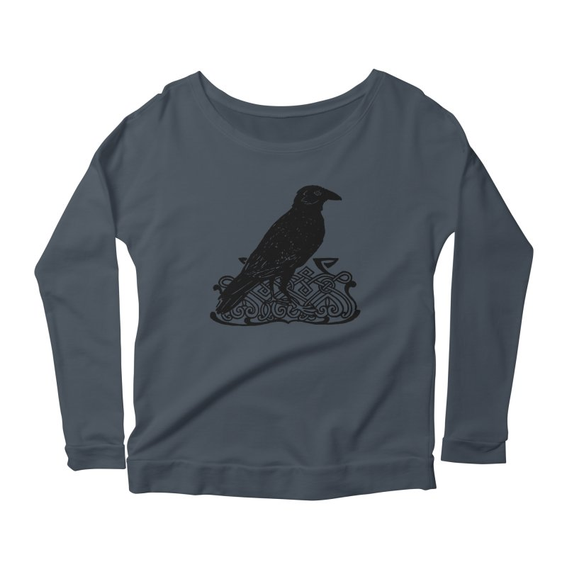 Crow with Celtic Knot Women's Scoop Neck Longsleeve T-Shirt by Green Grackle Studio