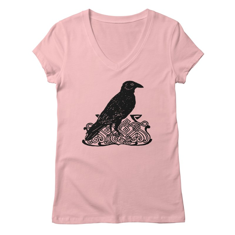 Crow with Celtic Knot Women's Regular V-Neck by Green Grackle Studio
