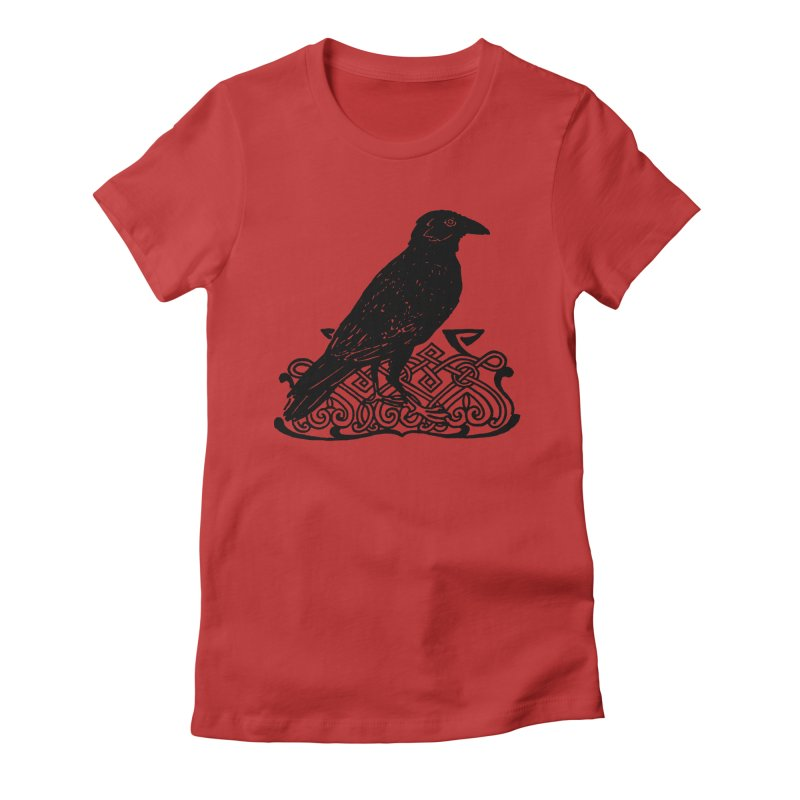 Crow with Celtic Knot Women's Fitted T-Shirt by Green Grackle Studio