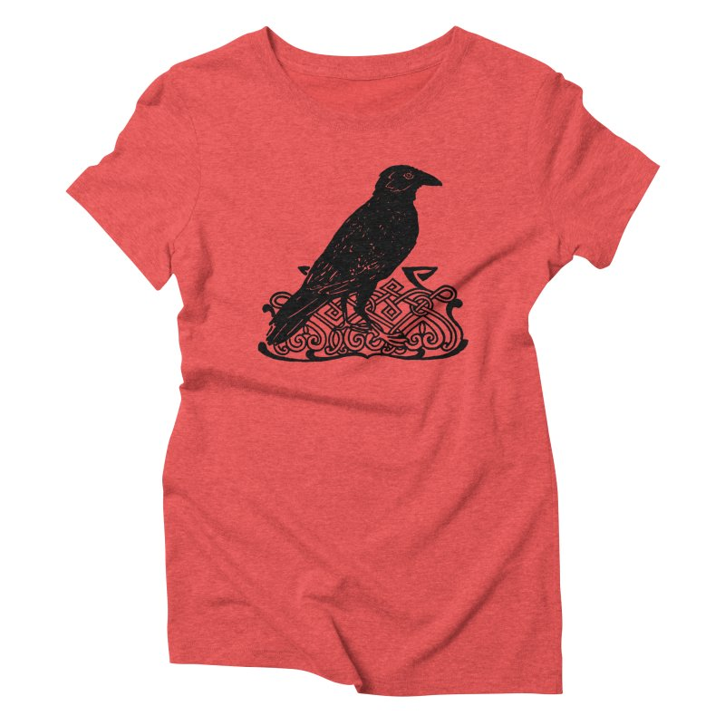 Crow with Celtic Knot Women's Triblend T-Shirt by Green Grackle Studio