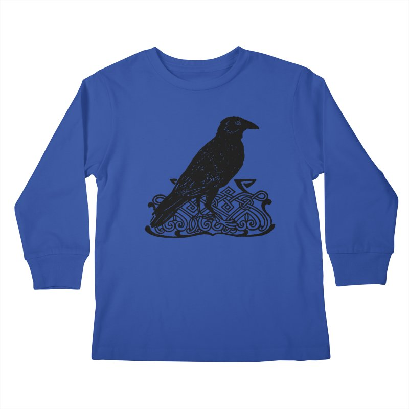 Crow with Celtic Knot Kids Longsleeve T-Shirt by Green Grackle Studio