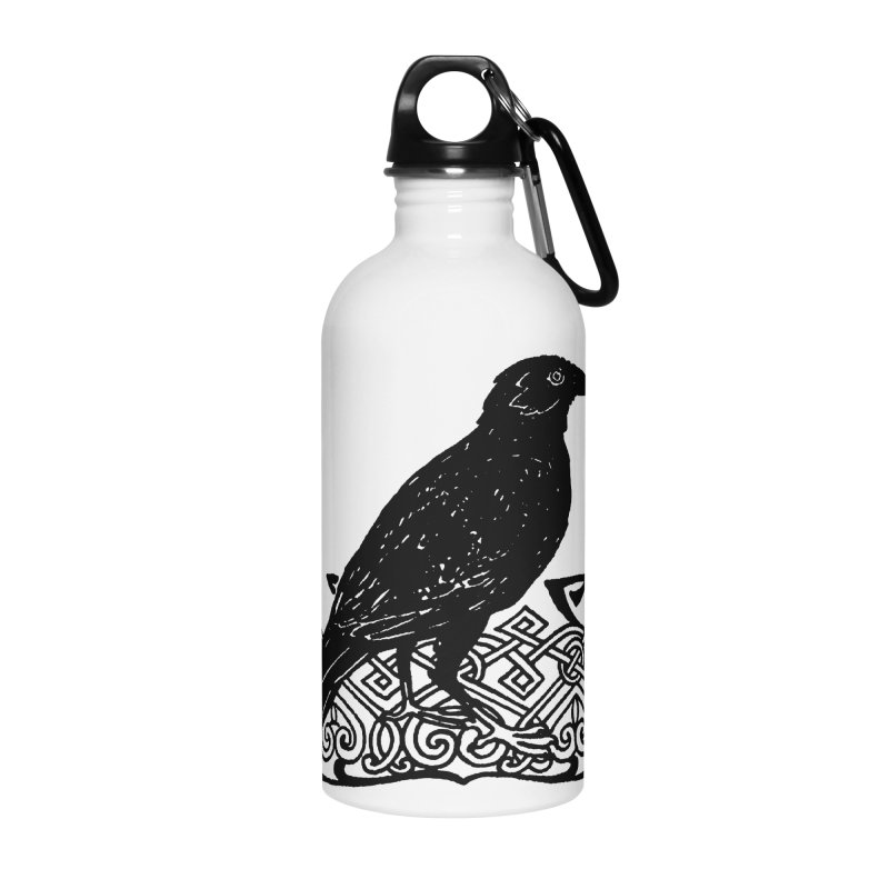 Crow with Celtic Knot Accessories Water Bottle by Green Grackle Studio