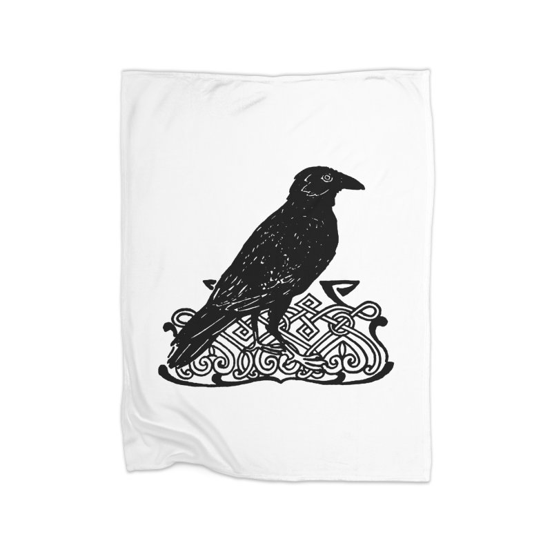 Crow with Celtic Knot Home Fleece Blanket Blanket by Green Grackle Studio