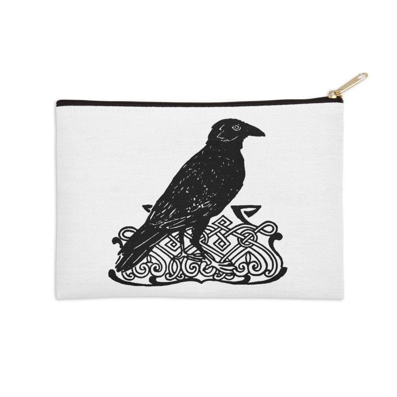 Crow with Celtic Knot Accessories Zip Pouch by Green Grackle Studio