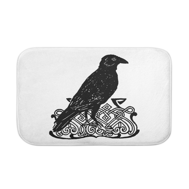 Crow with Celtic Knot Home Bath Mat by Green Grackle Studio