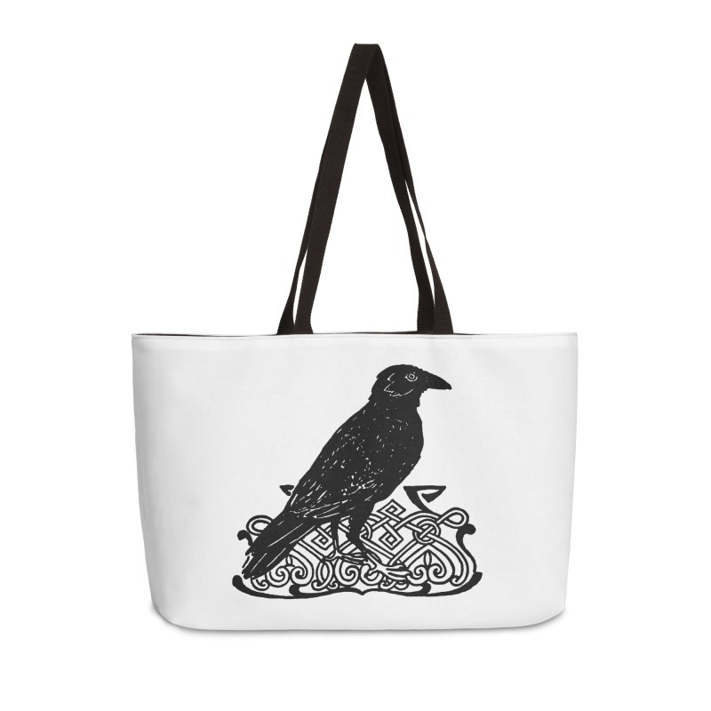 Crow with Celtic Knot Accessories Weekender Bag Bag by Green Grackle Studio