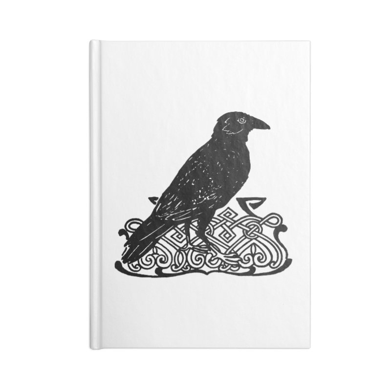 Crow with Celtic Knot Accessories Blank Journal Notebook by Green Grackle Studio