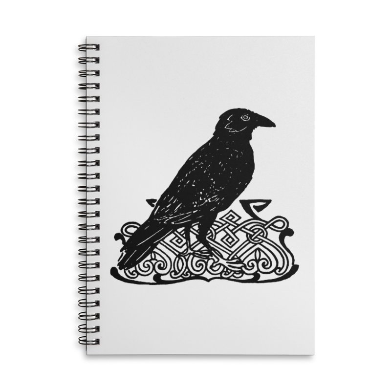 Crow with Celtic Knot Accessories Lined Spiral Notebook by Green Grackle Studio