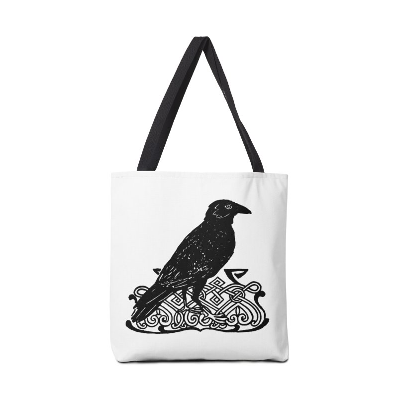 Crow with Celtic Knot Accessories Bag by Green Grackle Studio