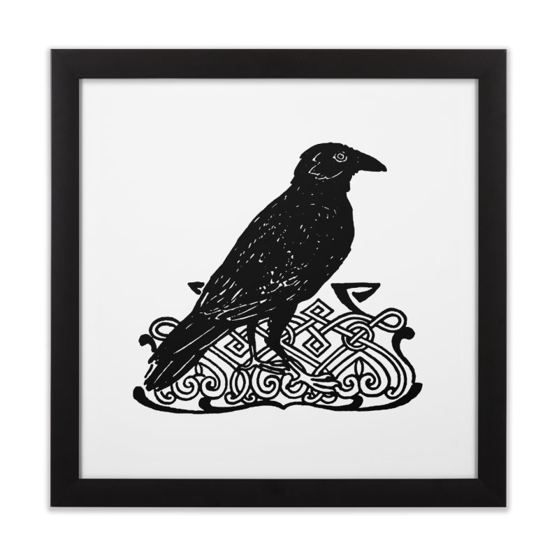 Crow with Celtic Knot Home Framed Fine Art Print by Green Grackle Studio