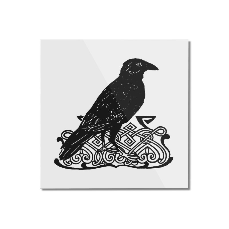 Crow with Celtic Knot Home Mounted Acrylic Print by Green Grackle Studio