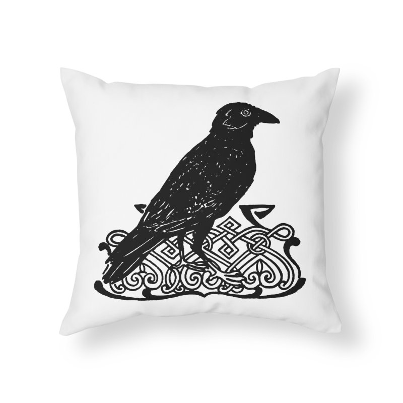 Crow with Celtic Knot Home Throw Pillow by Green Grackle Studio