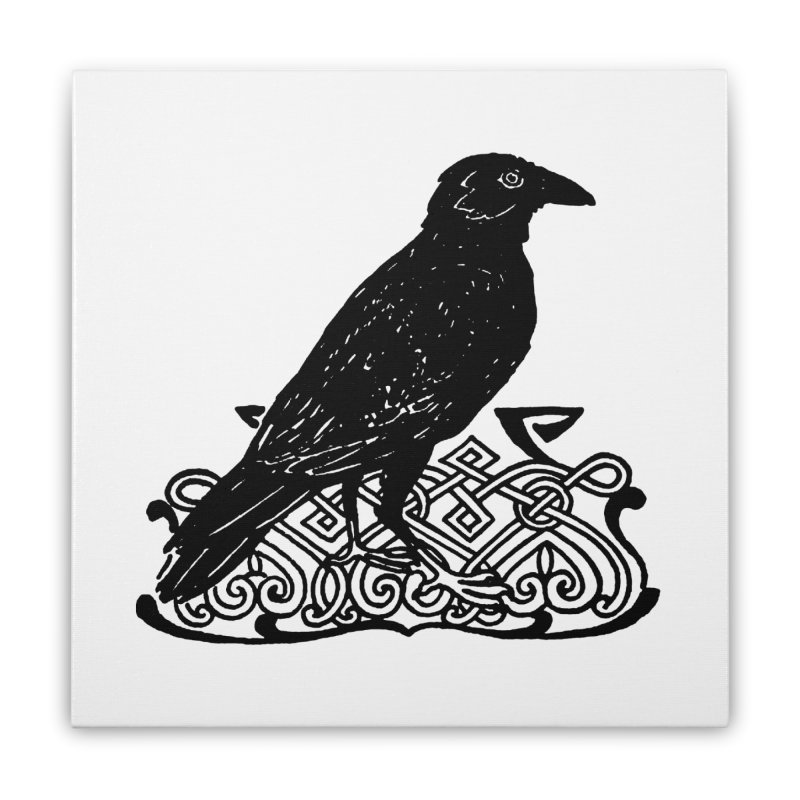 Crow with Celtic Knot Home Stretched Canvas by Green Grackle Studio