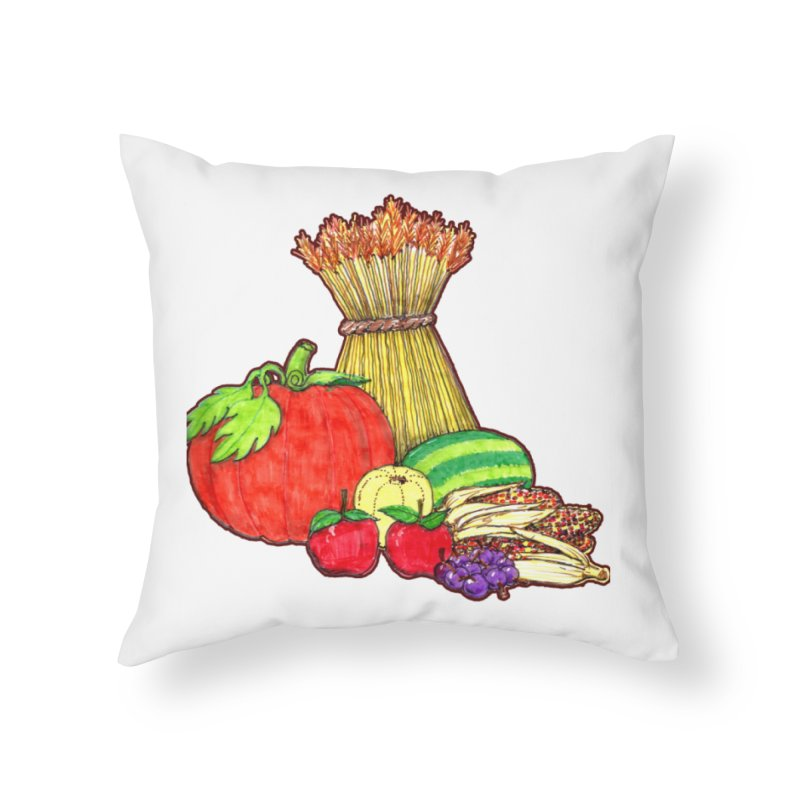 Harvest Fruit Home Throw Pillow by