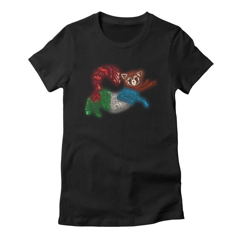 FIRE FERRET Women's Fitted T-Shirt by greenlambart's Artist Shop