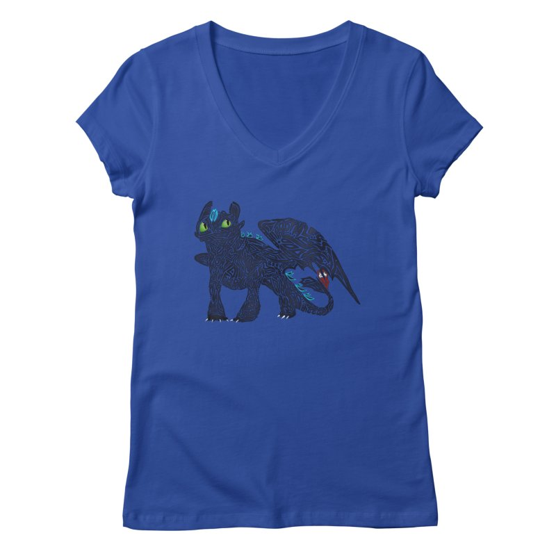 TOOTHLESS Women's V-Neck by greenlambart's Artist Shop