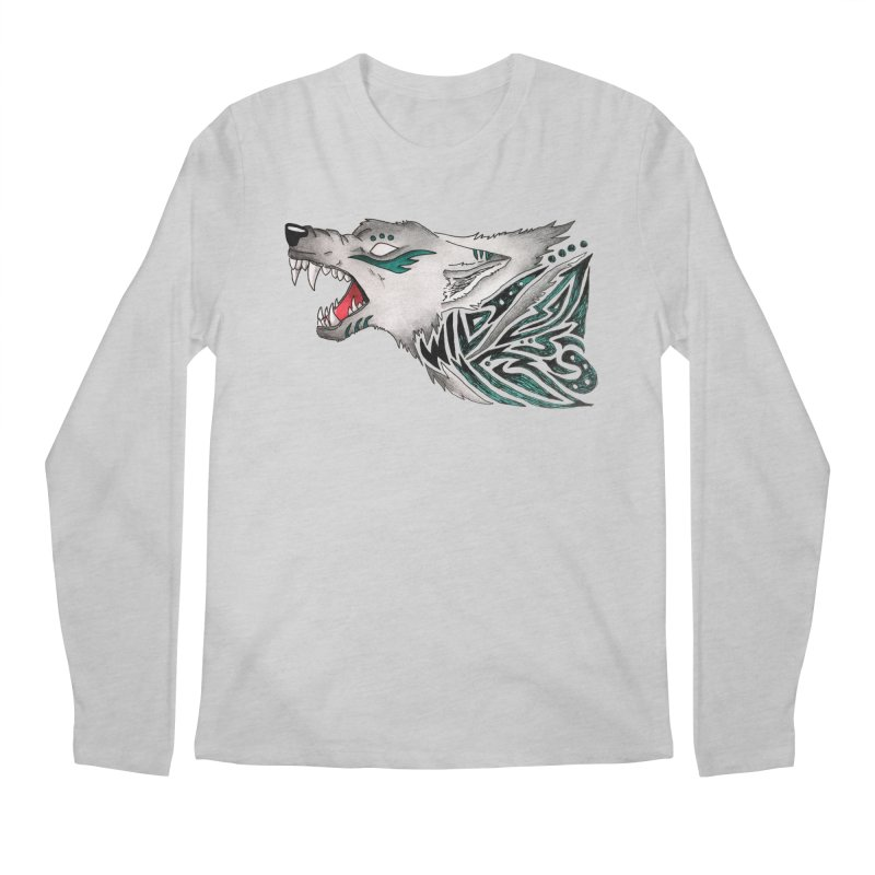 WILD WOLF Men's Regular Longsleeve T-Shirt by greenlambart's Artist Shop