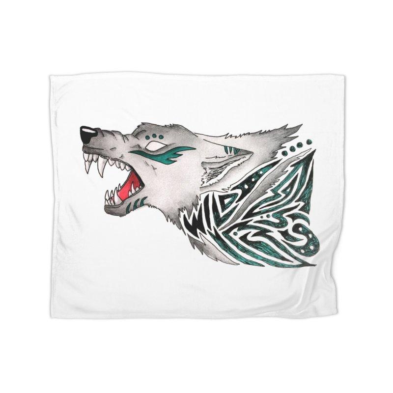 WILD WOLF Home Fleece Blanket Blanket by greenlambart's Artist Shop