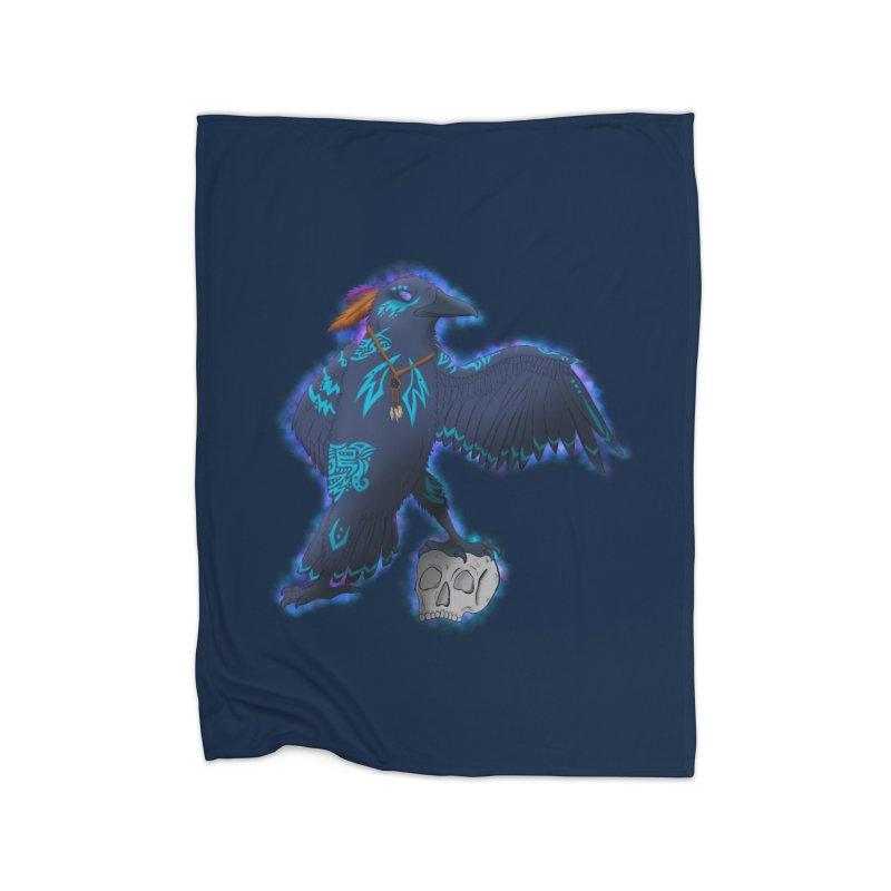 MYSTIC CROW Home Fleece Blanket Blanket by greenlambart's Artist Shop