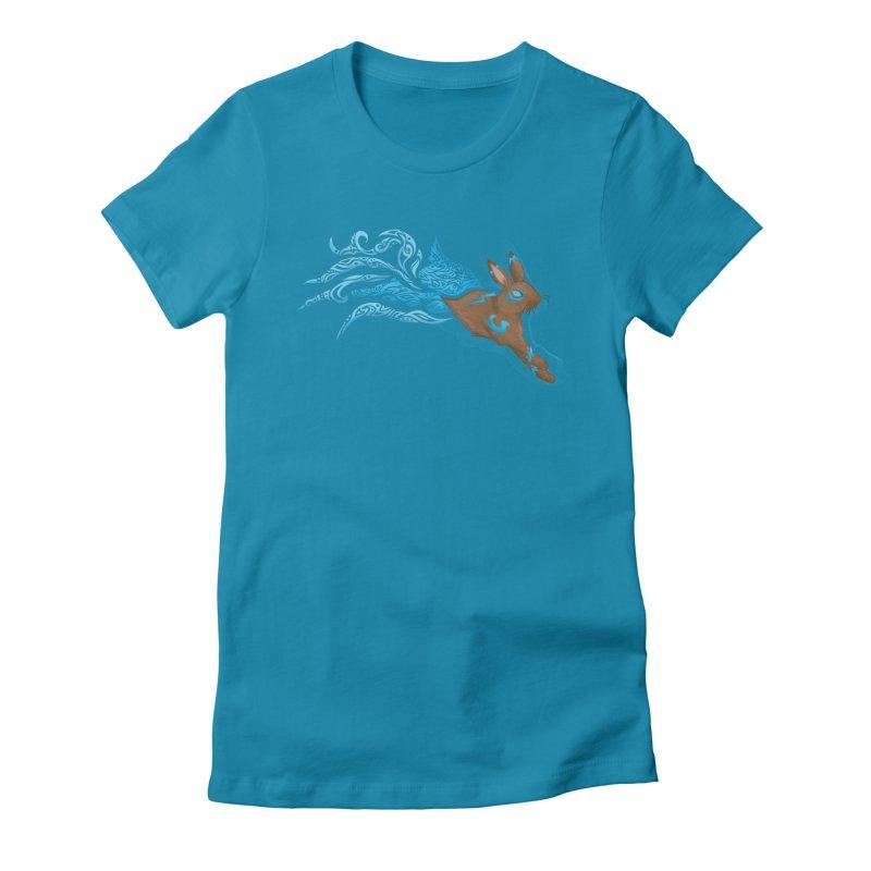 SPIRIT RABBIT Women's Fitted T-Shirt by greenlambart's Artist Shop