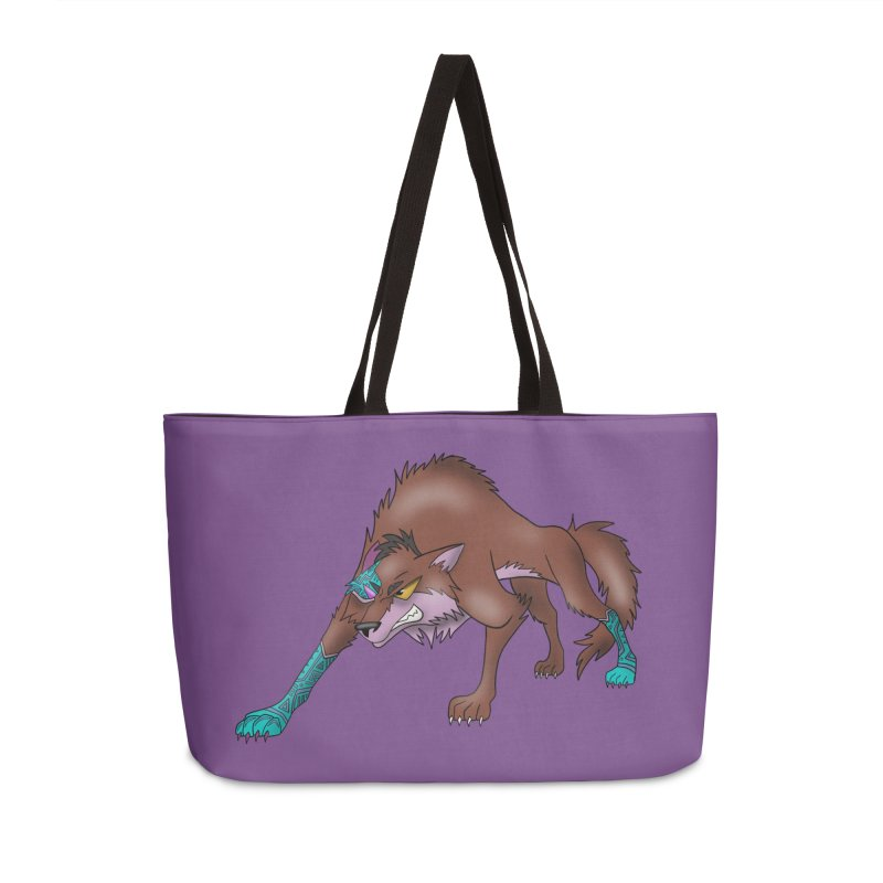 CYBER WOLF Accessories Bag by greenlambart's Artist Shop