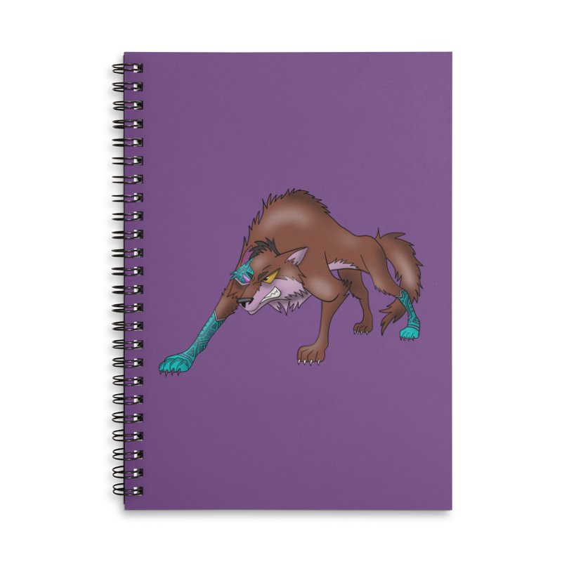 CYBER WOLF Accessories Lined Spiral Notebook by greenlambart's Artist Shop