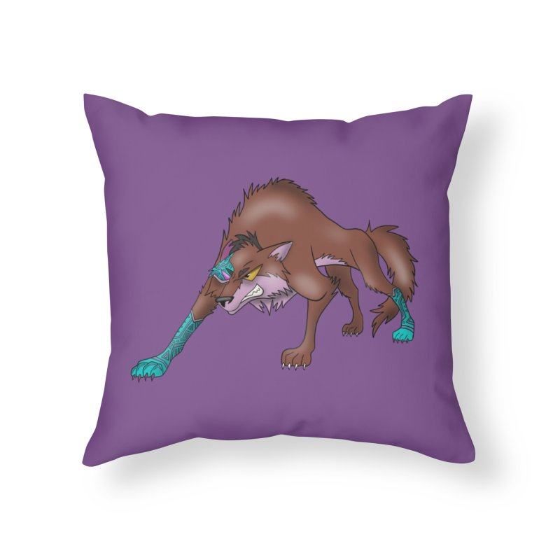 CYBER WOLF Home Throw Pillow by greenlambart's Artist Shop