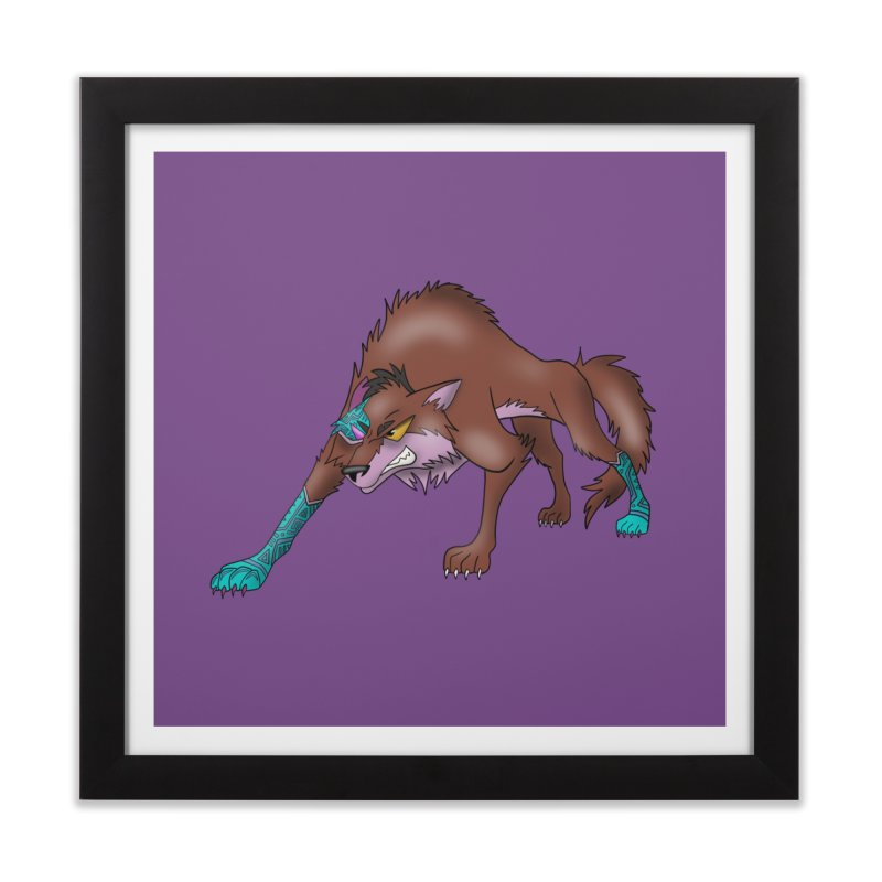 CYBER WOLF Home Framed Fine Art Print by greenlambart's Artist Shop
