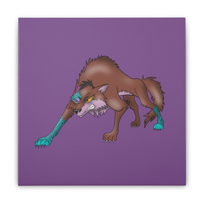 CYBER WOLF Home Stretched Canvas by greenlambart's Artist Shop
