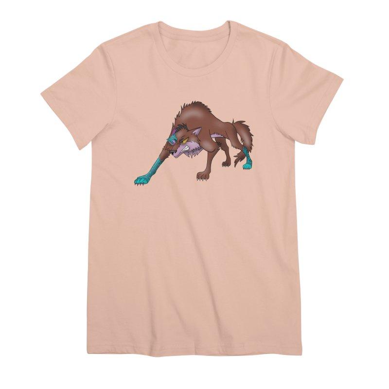 CYBER WOLF Women's Premium T-Shirt by greenlambart's Artist Shop