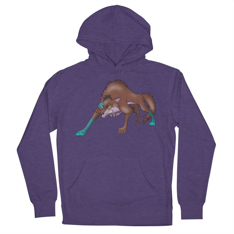CYBER WOLF Men's French Terry Pullover Hoody by greenlambart's Artist Shop