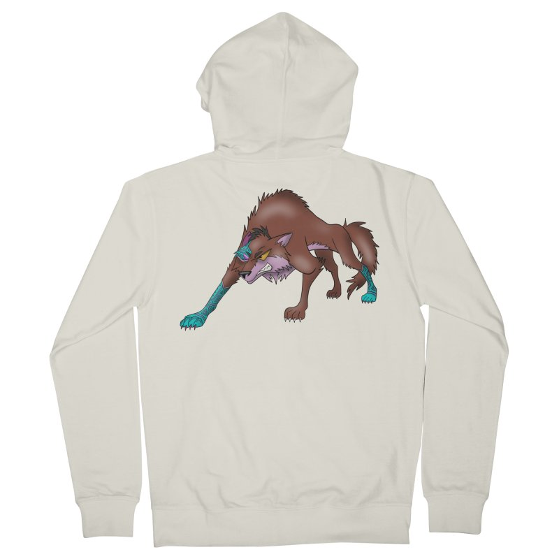 CYBER WOLF Women's French Terry Zip-Up Hoody by greenlambart's Artist Shop