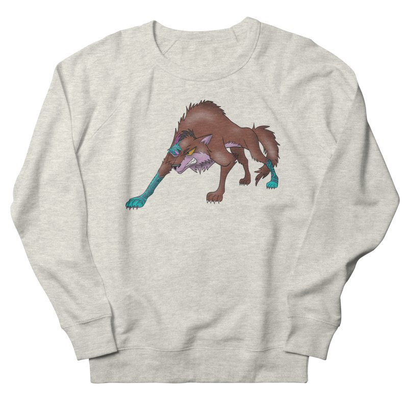 CYBER WOLF Men's French Terry Sweatshirt by greenlambart's Artist Shop
