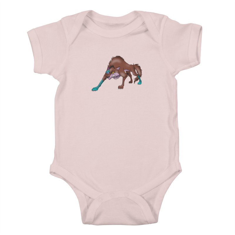 CYBER WOLF Kids Baby Bodysuit by greenlambart's Artist Shop