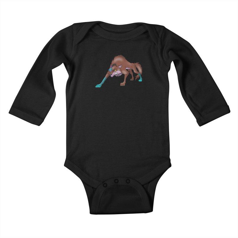 CYBER WOLF Kids Baby Longsleeve Bodysuit by greenlambart's Artist Shop