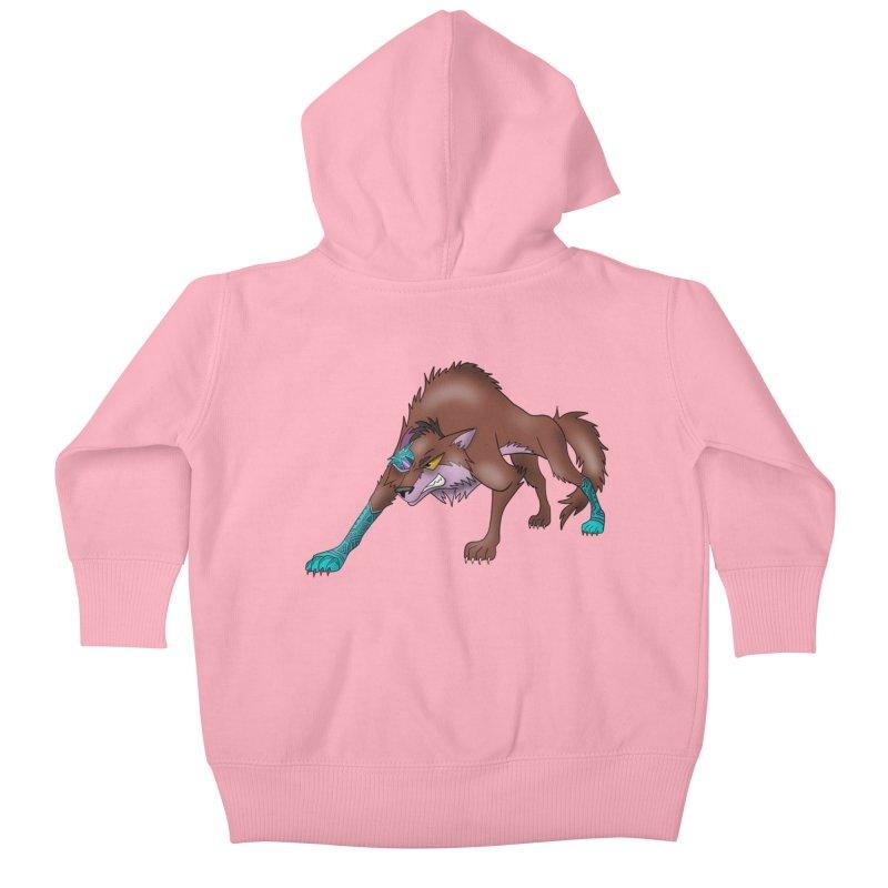 CYBER WOLF Kids Baby Zip-Up Hoody by greenlambart's Artist Shop