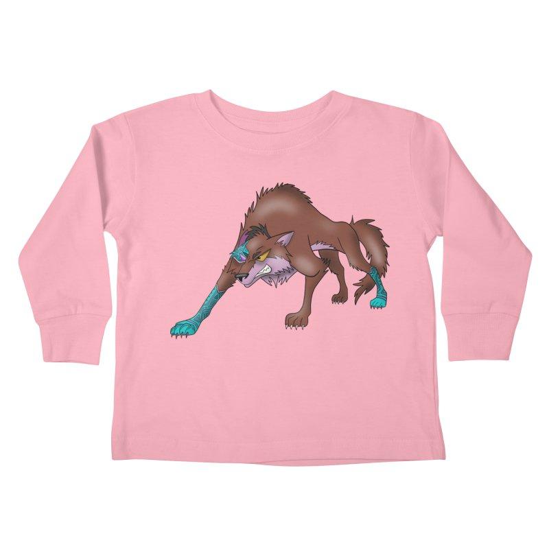 CYBER WOLF Kids Toddler Longsleeve T-Shirt by greenlambart's Artist Shop