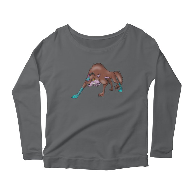 CYBER WOLF Women's Scoop Neck Longsleeve T-Shirt by greenlambart's Artist Shop