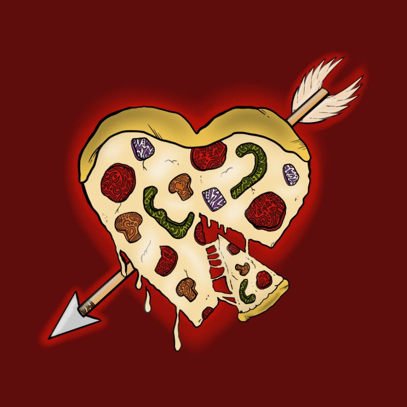 PIZZA MY HEART Home Mounted Aluminum Print by greenlambart's Artist Shop
