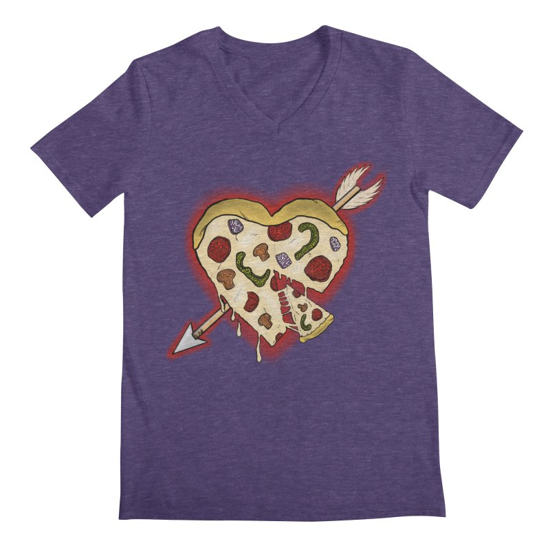 PIZZA MY HEART Men's Regular V-Neck by greenlambart's Artist Shop