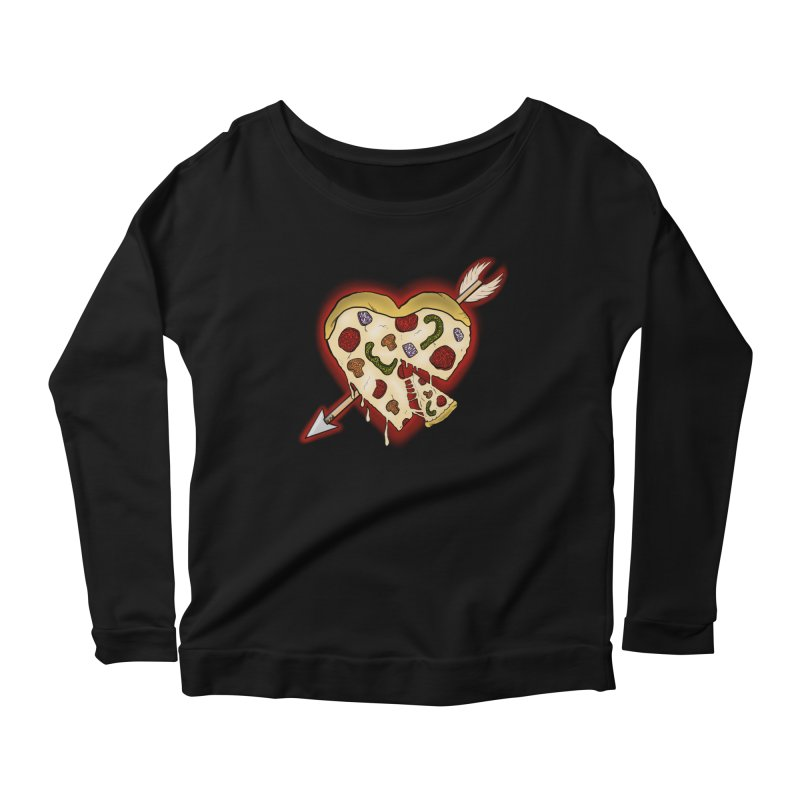 PIZZA MY HEART Women's Scoop Neck Longsleeve T-Shirt by greenlambart's Artist Shop