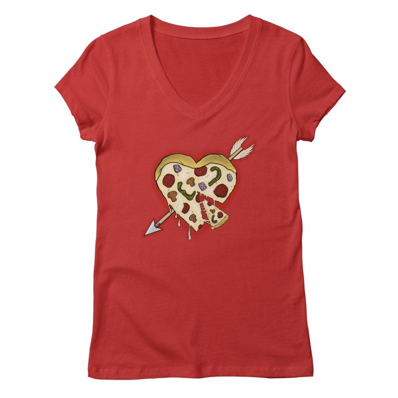 PIZZA MY HEART Women's Regular V-Neck by greenlambart's Artist Shop